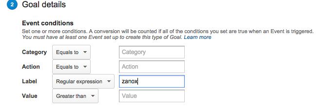 Goal details Google Analytics